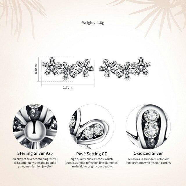 BAMOER Autentico 925 Sterling Silver Impilabile Abbagliante Margherite, Sereno CZ Orecchini con perno per Le Donne Gioielleria Raffinata Bijoux PAS506