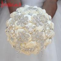 WifeLai A Luxury Ivory Rose Flowers Silk Brooch Bridal Bouquets Tassel Full Diamond Stitch Wedding Bouquet Decoration W2285