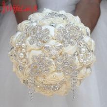WifeLai-A Luxury Ivory Rose Flowers Silk Brooch Bridal Bouquets Tassel Full Diamond Stitch Wedding Bouquet Decoration W2285