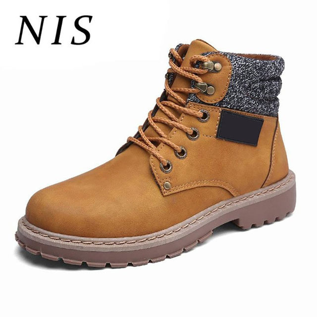 f6b08efe21bc NIS Motorcycle Biker Winter Shoes Men Ankle Boots Men Timber Land Shoes  High Top Sneakers Work Boots PU Leather Botas Hombre New