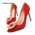 Plardin Rhinestone Mujeres de Las Bombas Bombas de la Boda de Victoria Mujer Zapatos Cristalinos 2017 de Las Mujeres del Color de Las Mujeres de Novia zapatos de Tacón Alto