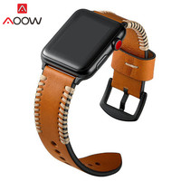 Genuine Leather Watchband For Apple Watch 38mm 42mm Brown Sewing Men Women Replacement Bracelet Strap Band