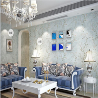 American Pastoral Nonwovens Floral Wallpapers Solid Purple Color AB Style Collar Bedroom Living Room Backdrop Wall