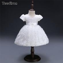Yeedison Flower Baby Girl Wedding Dress Cute Summer Infant 1 Year Birthday Evening Patry Princess Dress Newborn Christening Gown