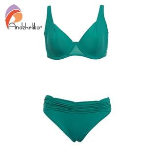 Image 3 - Andzhelika 2020 Summer Solid Bikinis Women Swimsuit Soft Cups Steel prop Bikini Set Beach Swim Suits Maillot de bain