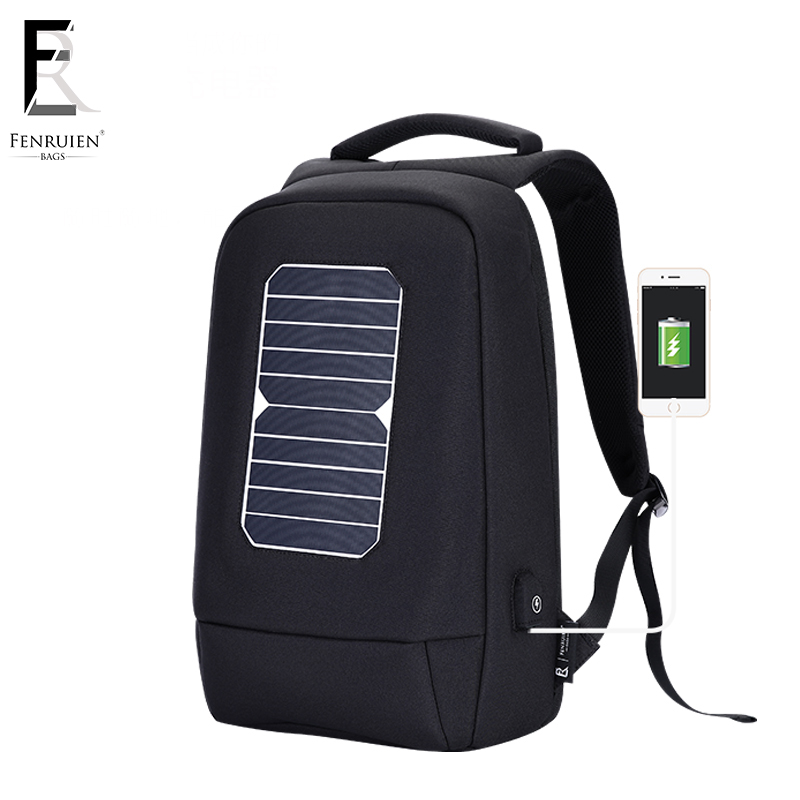 FENRUIEN USB Solar Powered Charge <font><b>Backpack</b></font> for Men Women Laptop <font><b>Backpack</b></font> 15.6 inch Waterproof Business Fashion Travel <font><b>Backpack</b></font>