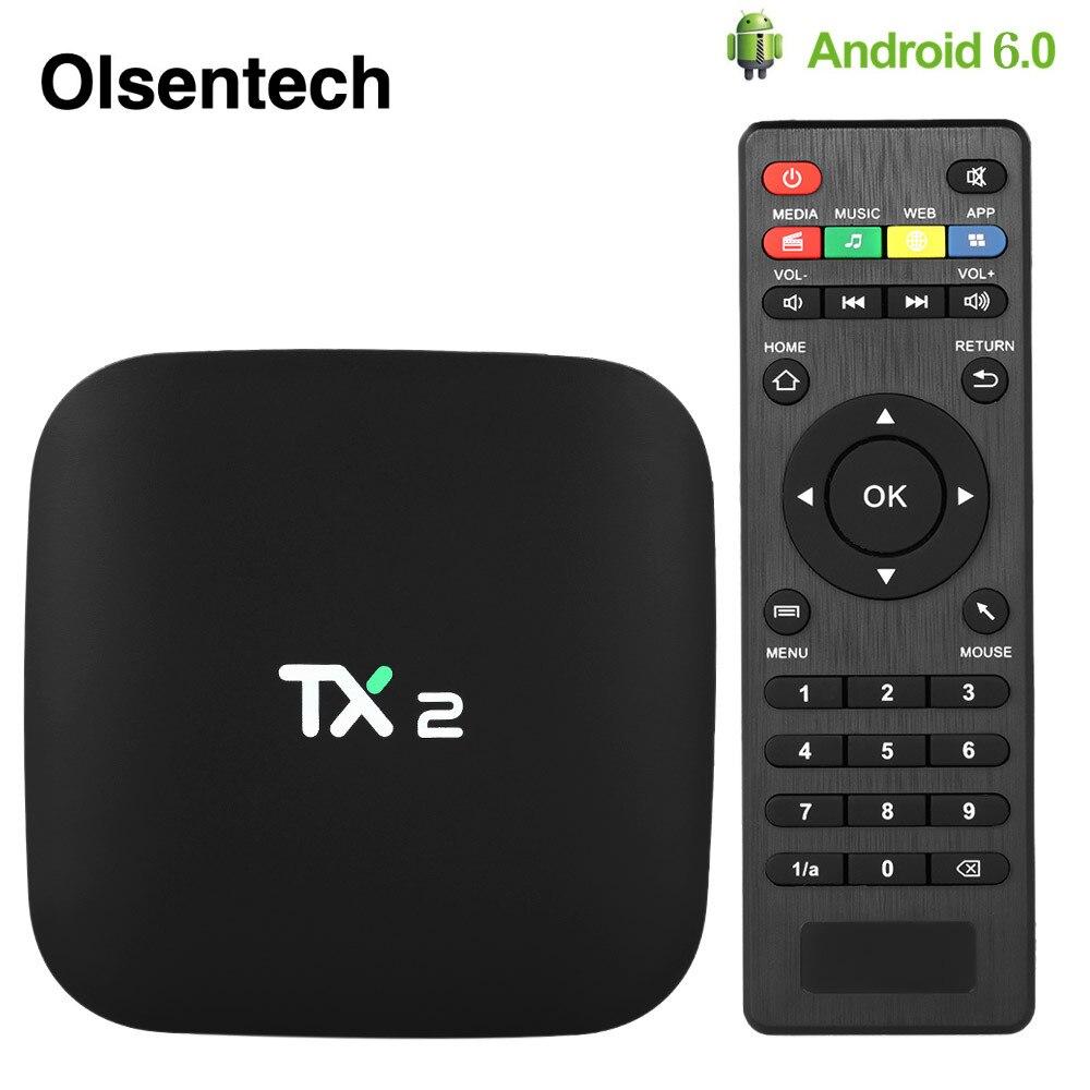 TX2 intelligent Android 6.0 TV BOX RK3229 Quad-core 2GB 16GB 2.4GHz WiFi décodeur H.265 VP9 UHD 4K * 2K 60fps HD lecteur multimédia
