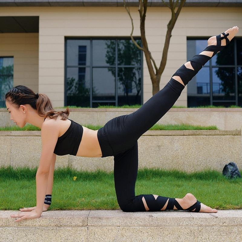 2017 Women Yoga Pants Yoga Cropped Pants Sportswear Sport Leggings Fitness Cross High Waist Ballet Dance Tight Bandage