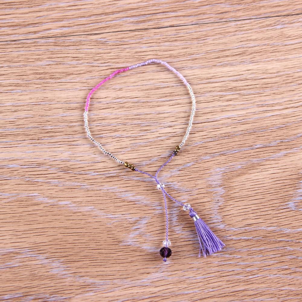 C. QUAN CHI Bijoux Boho Cristal Perles de Rocaille Amitié Bracelet Réglable Gland Pendentif Charmes Bracelet Pour Femme Bijoux AZX029