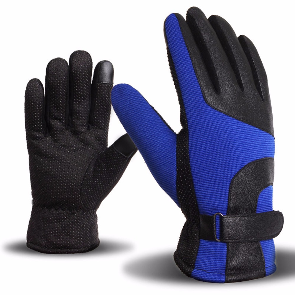 LumiParty Men Winter Outdoor Windproof Anti-Slip Touch Screen Warm Gloves for Riding Cycling Motorcycle Hiking Camping Skiing