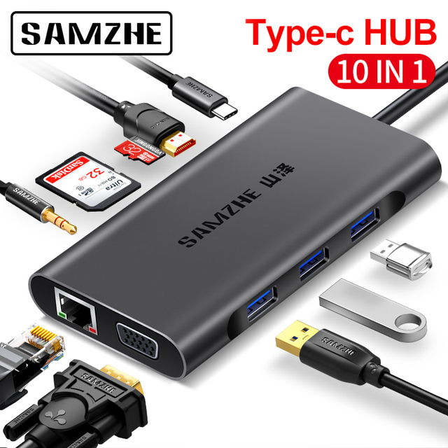 SAMZHE HUB C to HDMI RJ45 Card Reader Adapter , HUB to Multi USB for MacBook Pro for Samsung Galaxy S9/Note 9 Huawei P20 Pro