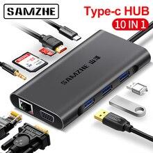 SAMZHE kabel piasty C do HDMI RJ45 czytnik kart, piasty do wielu USB dla MacBook Pro dla Samsung Galaxy S9/uwaga 9 Huawei P20 Pro