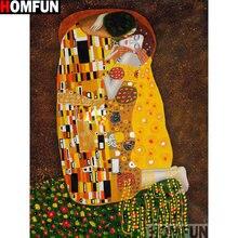 HOMFUN – peinture à l'huile de Couple, cadre carré ou rond, bricolage,
