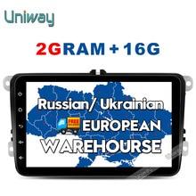 Uniway 2G + 16G 2 din android de dvd del coche para vw passat b5 b6 golf 4 5 tiguan polo skoda octavia fabia rápido reproductor multimedia de coche