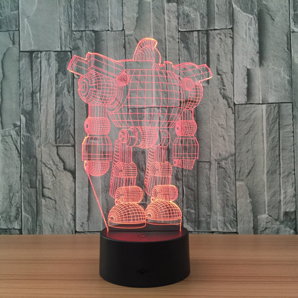 Robot 3D Lamp 7 Color Led Night Lamps for Kids Touch Led USB Table Lampara Lampe Baby Sleeping Nightlight Illusion Sensor Led