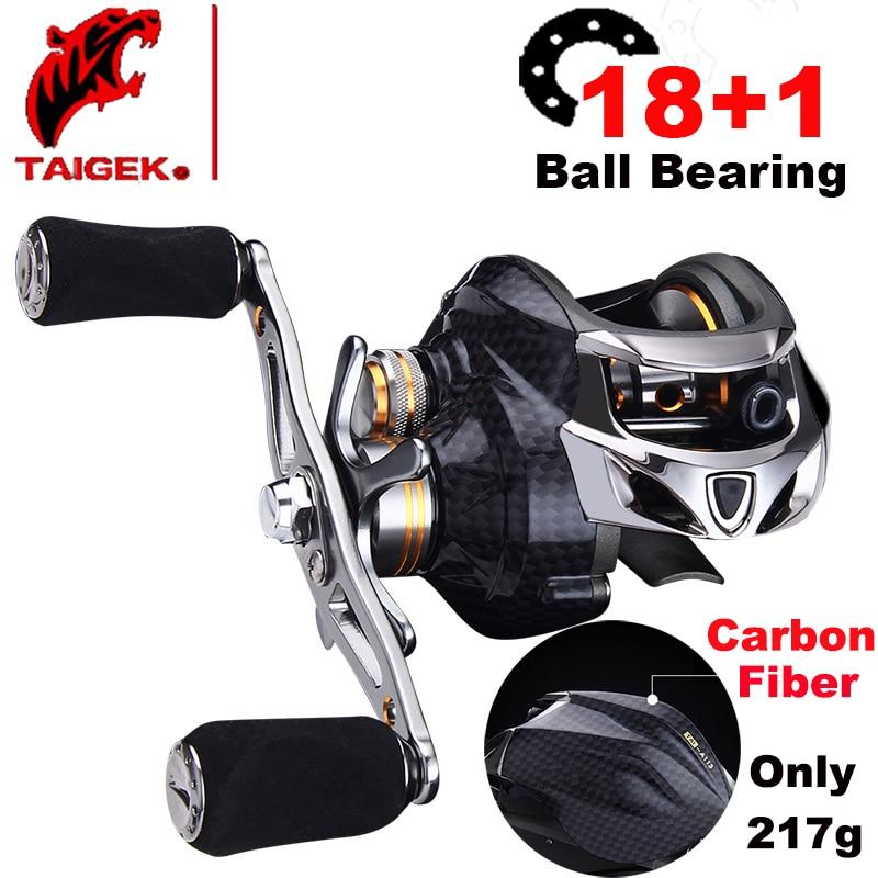 Taigek Brand High Quality 18 1BB Fishing Reel Carbon Fiber Baitcasting Reel Weightlight Reel Fishing 6