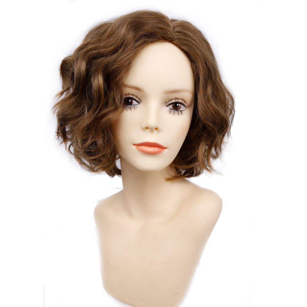 Amir Short Wavy Bob Wig Synthetic Hair Wigs For Women Cosplay Wigs Blown And Blonde Wig