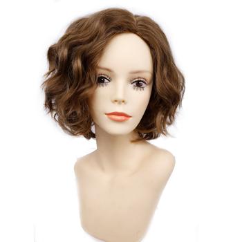 Amir krótki falisty Bob peruka syntetyczne peruki do włosów dla kobiet Cosplay peruki dmuchane i blond peruka tanie i dobre opinie AMIR HAIR Wysokiej Temperatury Włókna Falista Średnia wielkość 1 sztuka tylko Ciemny brąz Elastyczne koronki 130
