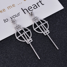 Funmor Special New Drop Earrings Geometric 925 Sterling Silver Ear Jewelry Women Female AAA Zirconia Banquet Wedding Accessories