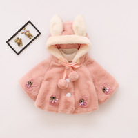 2017 Baby Girl Fake Fur Coat Girls Infant Winter Hooded Sweater Cloak Coats Kids Jackets Clothes