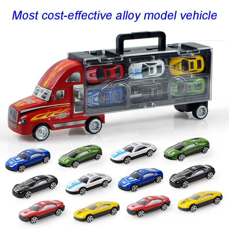 Baby toys Explosion model selling metal Diecasts toy vehicle boy toy portable truck with 12 pieces alloy Car Toy Collection Gift