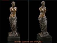 SS Art Deco Sculpture Aphrodite Broken Arms Woman Nude Bronze Statue Signed