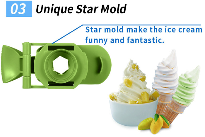 Fully Automatic Mini Fruit Ice Cream Maker for Home with 1L capacity and Unique Star Mold to make Delicious Fruit and Milk Ice Cream 3