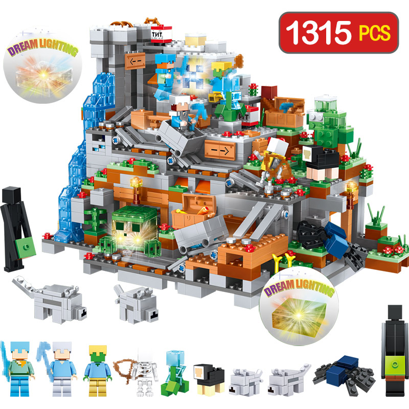 Bloques técnicos montaña cueva creador diseñador Compatible LegoINGLYS Minecrafted pueblo DIY ladrillos guardia juguetes para niños