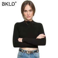 European Style 2016 Autumn And Winter New Women S High Collar Bottoming Shirt Slim Short Exposed