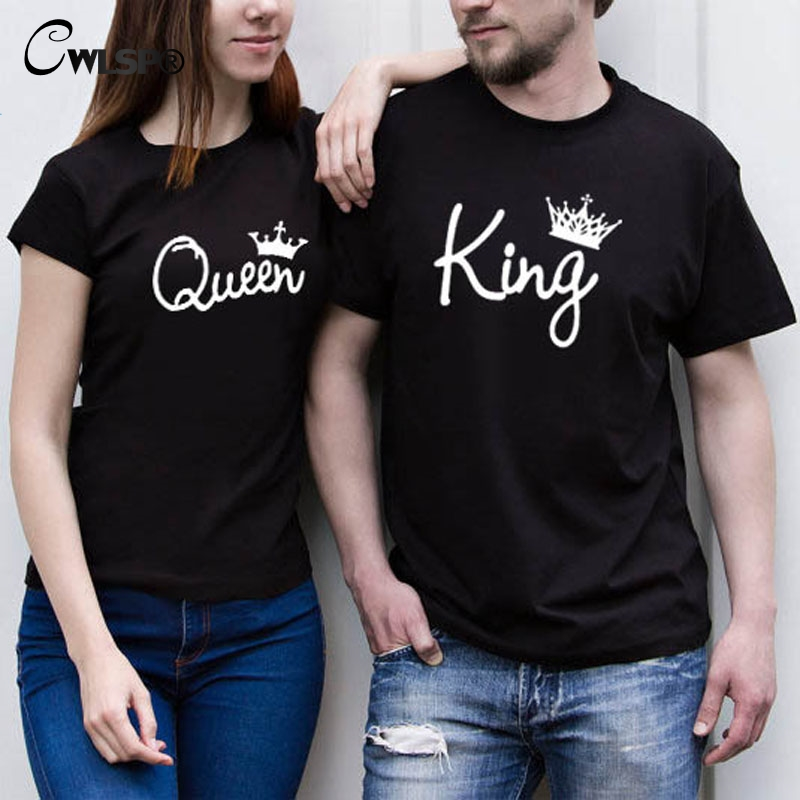 d9ab099b42025 CWLSP 2018 King Queen Female T shirt Crown Printing Couple Clothes Lovers Tee  Tops Femme Summer T shirt Casual O neck QZ3200-in T-Shirts from Women's ...