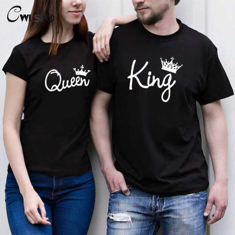 CWLSP 2019 Kral Kraliçe Kadın T-shirt Taç Baskı Çift Elbise Severler Tee Tops Femme yazlık T-shirt Rahat O-boyun QZ3200