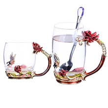 Enamel Color Crystal Glass Mug Rose Flower Butterfly  Handgrip and Rhinestones Decorated Design Drinking Cups Lovers Gift