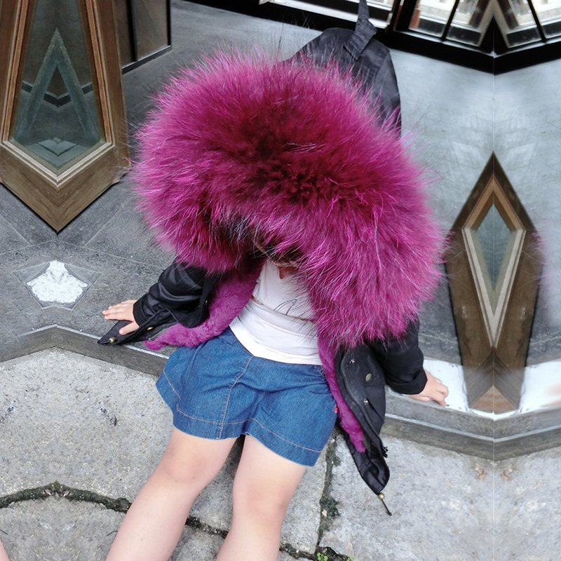2017 Army Green Coat Children's Natural Rabbit Fur Girls Jacket Winter Warm Kids Parkas Large Raccoon Fur Collar Jacket TZ204 2017 winter new clothes to overcome the coat of women in the long reed rabbit hair fur fur coat fox raccoon fur collar