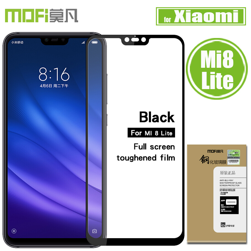 Xiaomi Mi 8 Lite Tempered Glass Screen Protector Mofi 2.5D Full Cover Clear Protective Glass Flim for Xiaomi Mi8 Lite / M8 Lite xiaomi mi 8 aliexpress