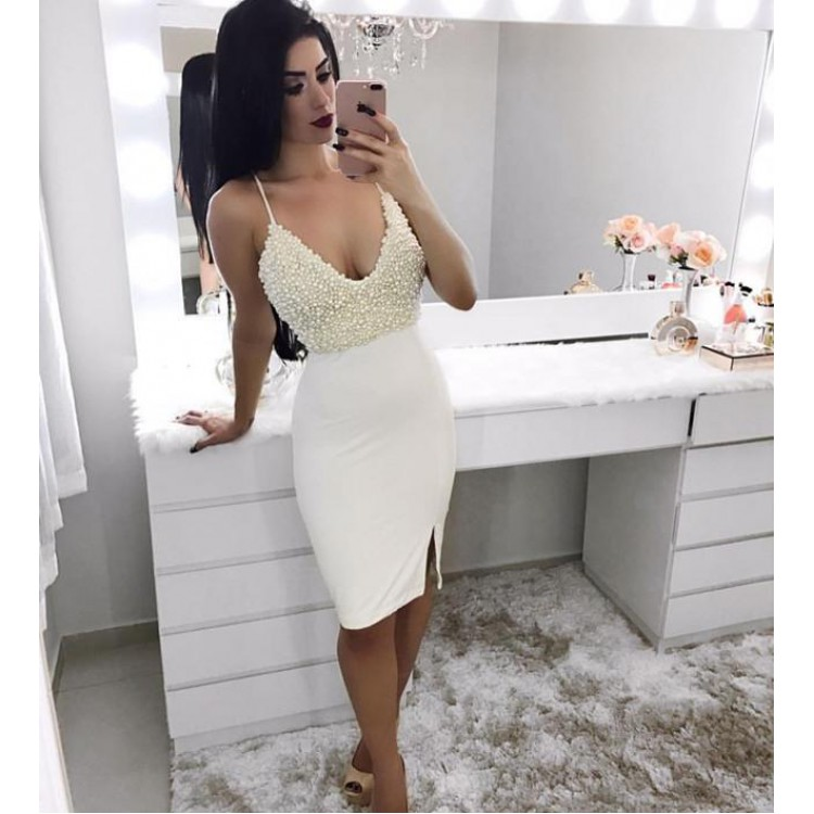 Ivory Crepe Sheath fit Short Cocktail Dresses With Spaghetti Straps Pearls Girls Sexy V Neck Club Dress With Slit Custom Made