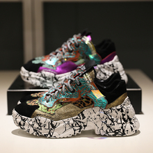 Fashion 2019 Sneakers Women Trendy Chunky Dad Shoe Laces Platform Casual Shoes Colorful Matching Camouflage Chaussures