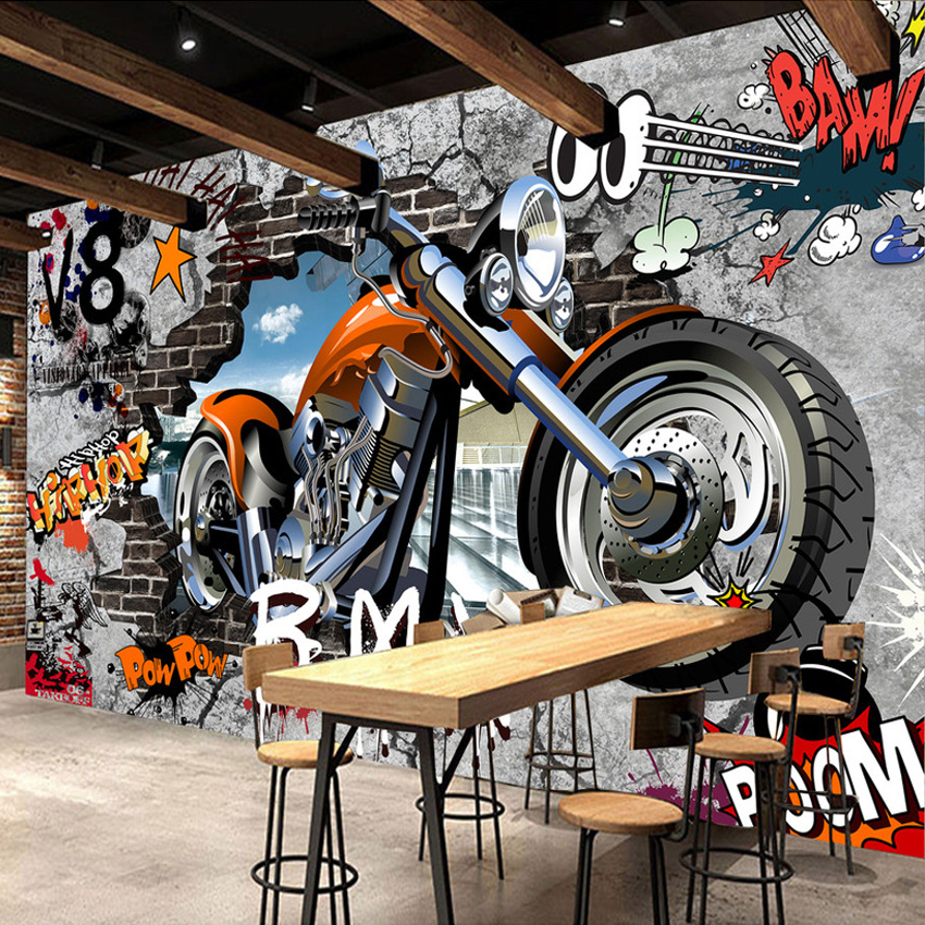 High Quality Custom Wall Murals Wallpaper Motorcycle Street Art Graffiti Mural Wall Decorations Living Room Modern Wall Painting