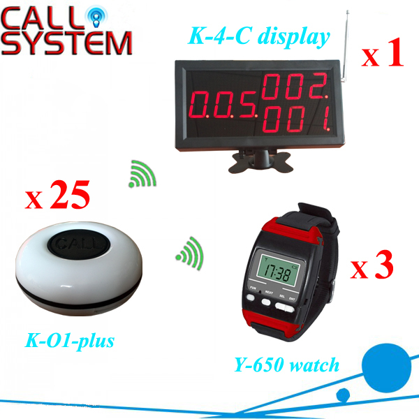 Wireless Paging System Casino Watch Caller Restaurant Equipment (1 display 3 wrist watch 25 call button) 2 receivers 60 buzzers wireless restaurant buzzer caller table call calling button waiter pager system