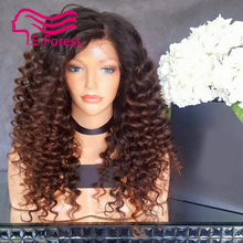 Unprocessed virgin full lace front lace human hair wigs glueless ombre kinky curly with Natural baby