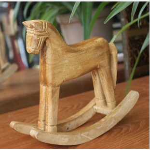 Horse Year S size Wooden Rocking Horse Animal Decoration Desktop Decoration Wood Carving Craft Memory of Childhood Gift S2023