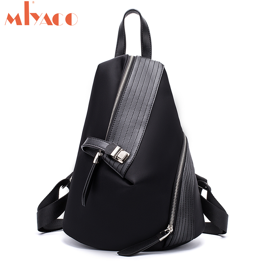MIYACO Fashion Backpack For City Women Backpacks Girls High Quality Waterproof Nylon Female Backpack With Cow Leather Black