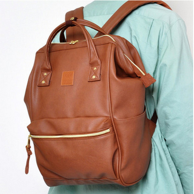 Leather Ring Backpack School Bags For Teenagers Male