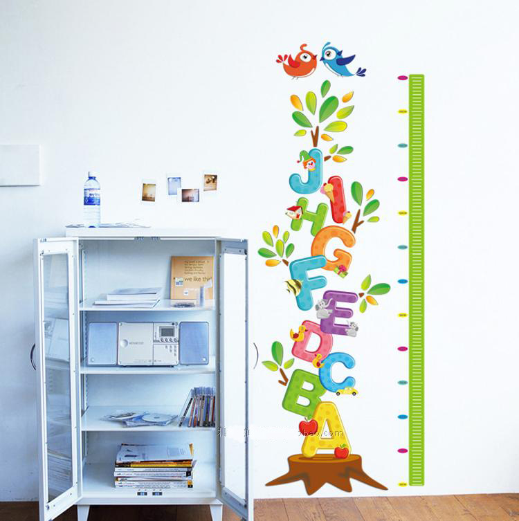 Letters Tree Birds Children S Height Chart Wall Stickers Removable Home Decor Kids Baby Nursery Art Mural In From Garden On