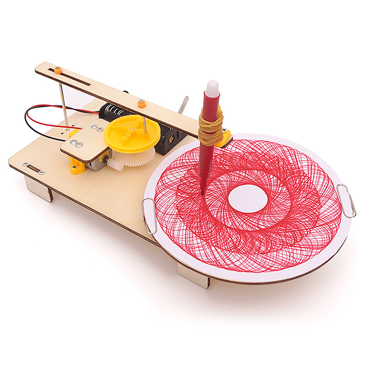 Kids Wooden DIY Assembled Electric Plotter Model Kit Creative Drawing Robot Physics Scientific Experiment Educational Toy