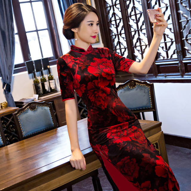 Vestido longo estampado Oriental