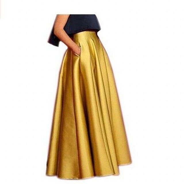 Faldas largas de cintura alta para mujer con bolsillo hasta el suelo  volantes 2018 Lisong fiesta 0532240a22eb