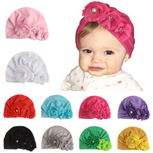 Yundfly Infant Newborn Caps with Pearl Chiffon Flowers Cotton Blend Kont Turban Beanie Hat Shower Gifts Baby Hair Accessories