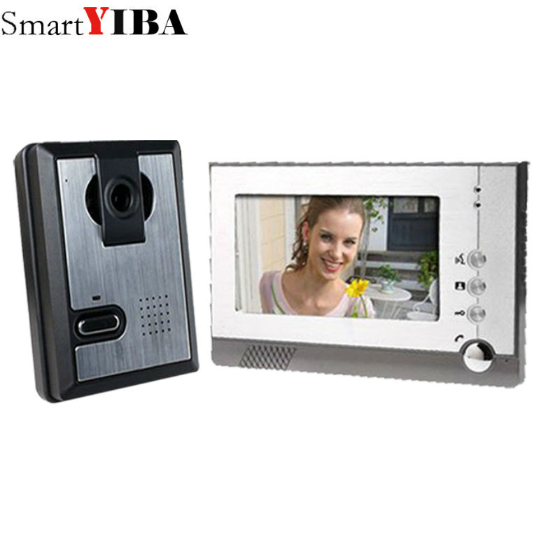 SmartYIBA 7 Inch TFT LCD wired video door phone door intercom Night Vision Waterproof Camera Monitor Doorbell Intercom 7 inch lcd monitor door wired video intercom doorbell system video door phone night vision aluminium alloy camera video intercom