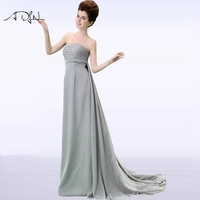 ADLN Strapless Sleeveless Empire Evening Dress Long Simple Chiffon Black/White Party Gown