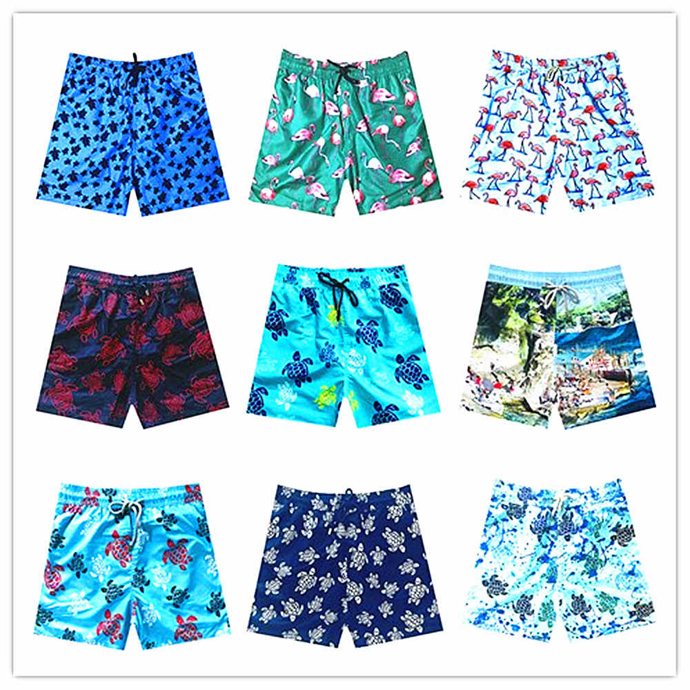 3ec46d066e 2019 Brand Vilebreq Beach Board Short Men Swimwear 100% Quick Dry Turtles  Flamingo Male Swimshort